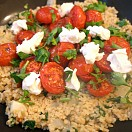 Bulgar wheat and spinach pilaf with labneh