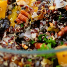 Simple and delicious quinoa salad with cinnamon and honey dressing